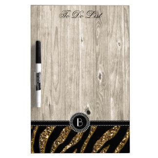 Animal Print Glitter Zebra Pattern and Monogram Dry Erase Board