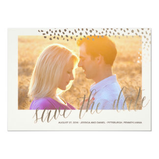 ANIMAL PRINT GOLD SAVE THE DATE Save the Date Card 13 Cm X 18 Cm Invitation Card
