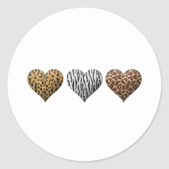 Animal Print Hearts Classic Round Sticker