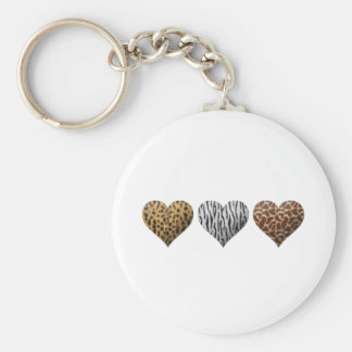 Animal Print Hearts Key Ring