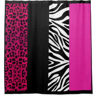 Animal Print Hot Pink Leopard Zebra Shower Curtain