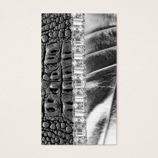 Animal Print Metallic Rhinestone Business Card