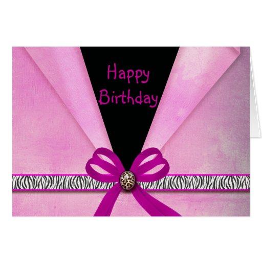 Animal Print Pink & Black Folded Sweet 16 Greeting Cards