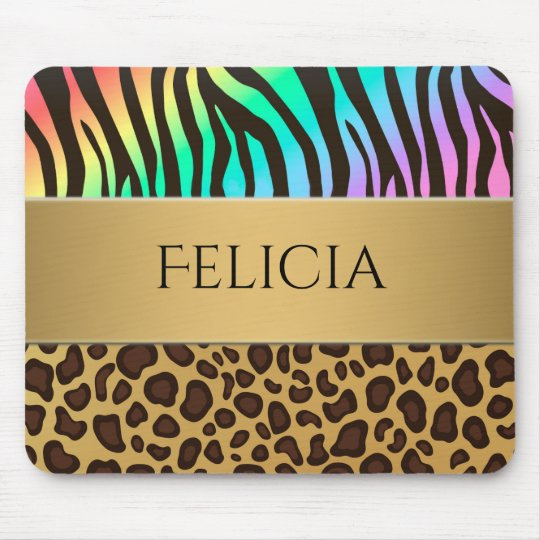 Animal Print Rainbow Zebra Leopard Personalised Mouse Mat