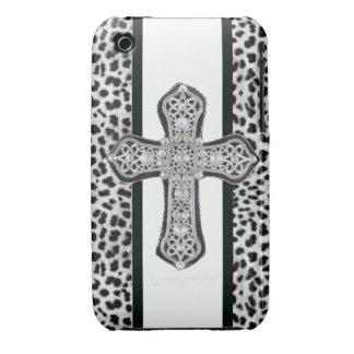 Animal Print Rhinestone Crusted Cross Iphone3 Case