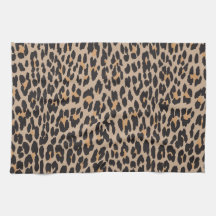 Animal Print, Spotted Leopard - Brown Black Hand Towels