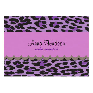 Animal Print Spotted Leopard - Purple Black Business Card