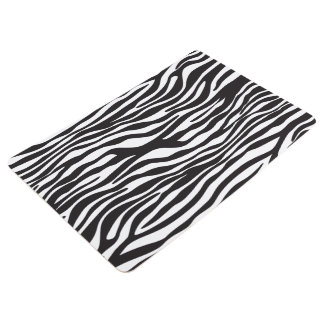 Animal Print, Striped Zebra - Black White Floor Mat