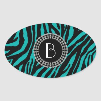 Animal Print Zebra Pattern and Monogram Oval Sticker