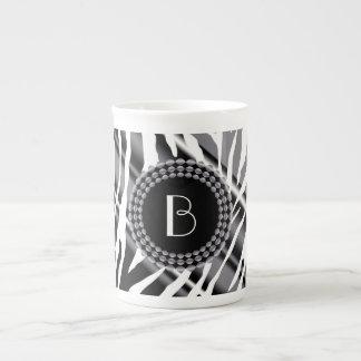 Animal Print Zebra Pattern and Monogram Porcelain Mugs