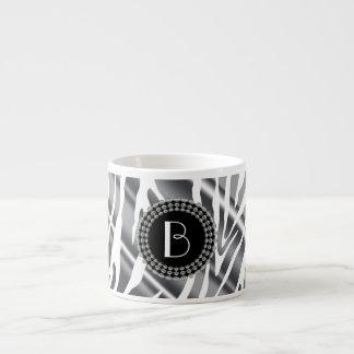 Animal Print Zebra Pattern and Monogram Espresso Mugs