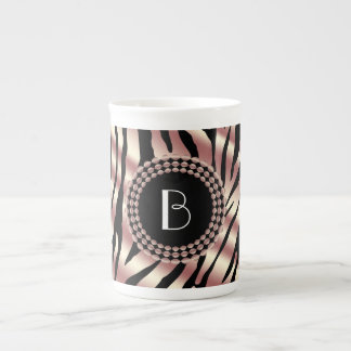 Animal Print Zebra Pattern and Monogram Porcelain Mug