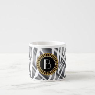 Animal Print Zebra Pattern and Monogram Espresso Cups