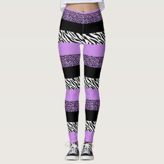 Animal Print, Zebra Stripes, Leopard - Purple Leggings