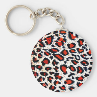 Animal Printer Leopard Abstract Basic Round Button Key Ring