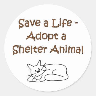 Animal Rescue/Adoption Shelter Cat Round Sticker