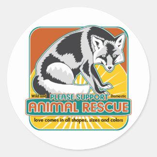 Animal Rescue Fox Classic Round Sticker