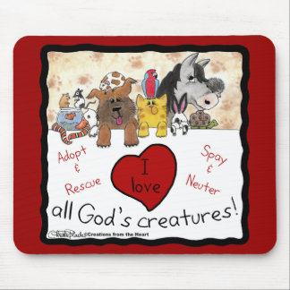 Animal Rescue-I love All God's Creatures Mouse Mat
