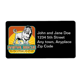 Animal Rescue Lion Shipping Label