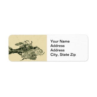 Animal Return Address Label bluegill fish print