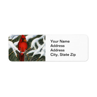 Animal Return Address Label Cardinal red bird