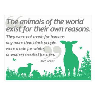 Animal Rights - Alice Walker quote design Postcard