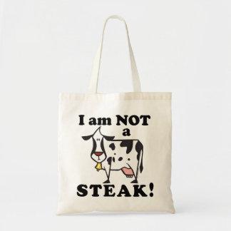 Animal Rights Anti Steak Message Canvas Bag