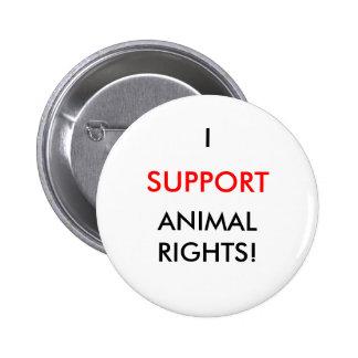Animal Rights Button, White 6 Cm Round Badge