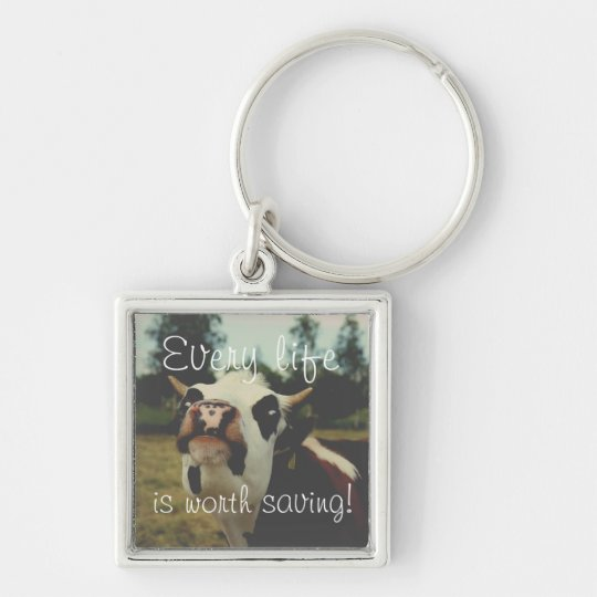Animal rights, key ring with a cow, for