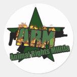 Animal Rights Militia Round Stickers