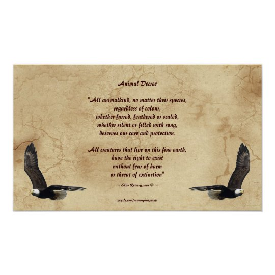 Animal Rights Poem and Bald Eagles Literary Poster