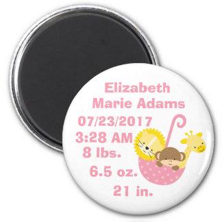 Animal Safari Baby Name Date Time of Birth White Magnet