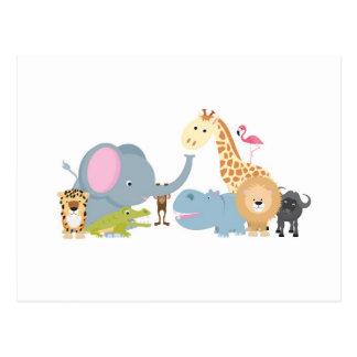 animal safari group white postcard