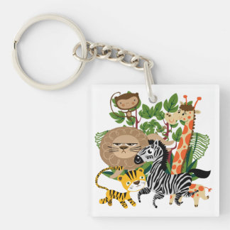 Animal Safari Square Acrylic Keychain
