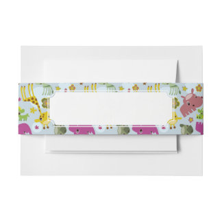 animal safari pattern invitation belly band