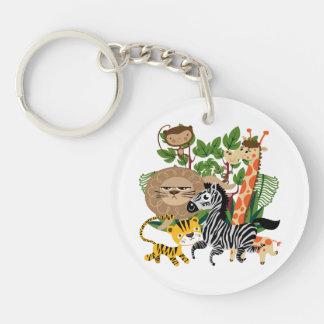 Animal Safari Single-Sided Round Acrylic Key Ring
