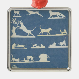 Animal Scenes and Playing Cats Silver-Colored Square Decoration