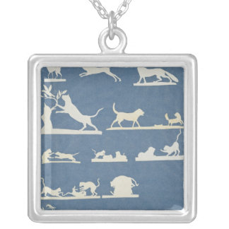 Animal Scenes and Playing Cats Silver Plated Necklace