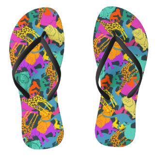 Animal Silhouettes Pattern Flip Flops
