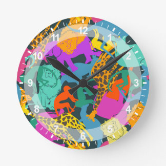 Animal Silhouettes Pattern Round Clock