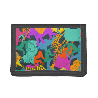 Animal Silhouettes Pattern Trifold Wallets