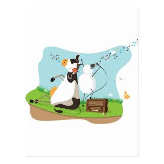 Animal singing postcard
