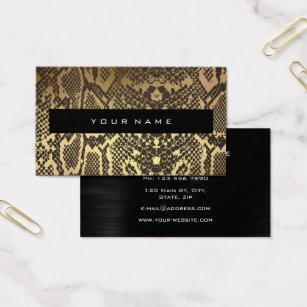 Snake skin business cards business card printing zazzle uk animal skin black gold python vip fashion stylist business card reheart Images