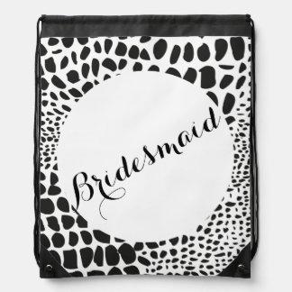 Animal Skin in Black and White Drawstring Bag