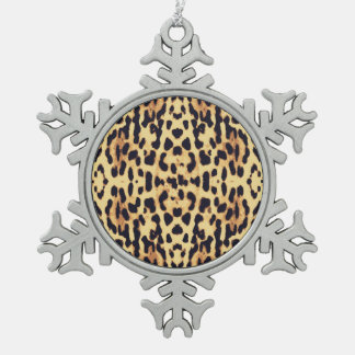 Animal skin print texture snowflake pewter christmas ornament