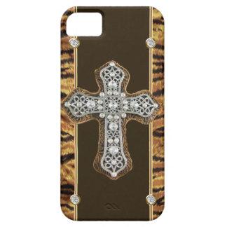 Animal Skin Rhinestones & a Cross IPHONE4 CASE iPhone 5 Cases