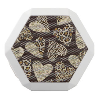 Animal skin with hearts white boombot rex bluetooth speaker