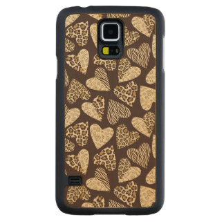 Animal skin with hearts carved maple galaxy s5 case