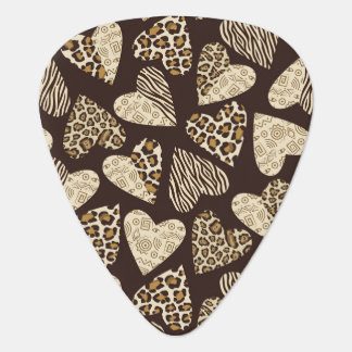 Animal skin with hearts guitar pick