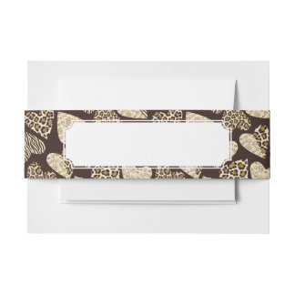 Animal skin with hearts invitation belly band